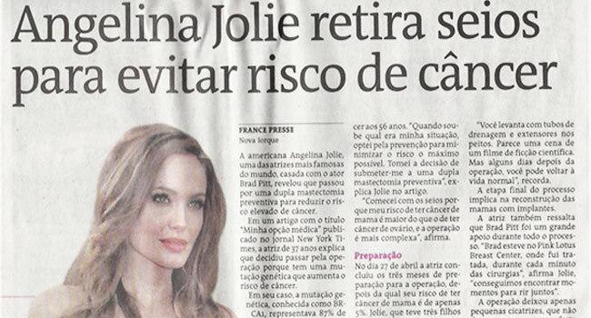 Angelina Jolie retira seios para evitar risco de câncer